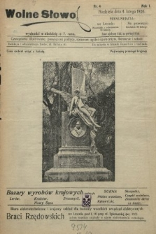 Wolne Słowo : czasopismo ilustrowane, poświęcone polityce, sprawom ogólno-społecznym, literaturze i sztuce. 1906, nr4