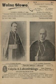 Wolne Słowo : czasopismo ilustrowane, poświęcone polityce, sprawom ogólno-społecznym, literaturze i sztuce. 1906, nr14