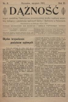 Dążność : organ zawodowy Towarzystwa prowizorycznej służby rządowej wszelkiej kategoryi i posłańców sądowych Galicyi i Bukowiny w Rzeszowie. 1911, nr8