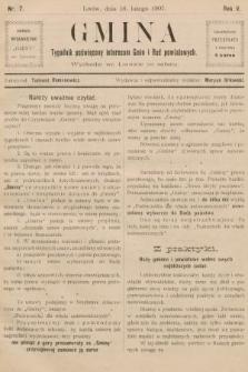 Gmina : tygodnik poświęcony interesom gmin i rad powiatowych. 1907, nr7
