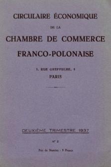 Circulaire Économique de la Chambre de Commerce Franco-Polonaise. 1937, nr2