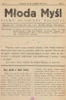 Młoda Myśl : pismo Młodzieży Polskiej. 1919, nr1