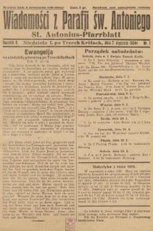 Wiadomości z Parafji Św. Antoniego = St. Antonius-Pfarrblatt. 1934, nr1
