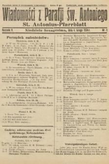 Wiadomości z Parafji Św. Antoniego = St. Antonius-Pfarrblatt. 1934, nr5
