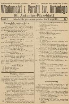 Wiadomości z Parafji Św. Antoniego = St. Antonius-Pfarrblatt. 1934, nr7