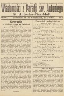 Wiadomości z Parafji Św. Antoniego = St. Antonius-Pfarrblatt. 1934, nr22