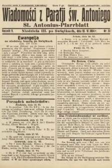 Wiadomości z Parafji Św. Antoniego = St. Antonius-Pfarrblatt. 1934, nr23