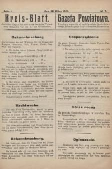 Kreis-Blatt : amtliches Organ für den unter deutscher Verwaltung stehender Teil des Kreises Czenstochau = Gazeta Powiatowa : urzędowy organ dla tej części powiatu częstochowskiego, która znajduje się pod zarządem niemieckim. 1915, nr7