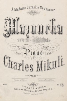 Mazourka (en si-mineur) : op. 11 : pour piano
