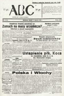 ABC : nowiny codzienne. 1938, nr11 A
