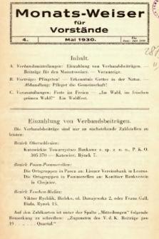 Monats-Weiser für Vorstände. 1930, nr4