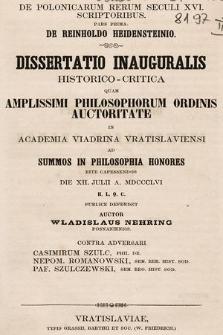 De polonicorum rerum seculi XVI scriptoribus. P. 1, De Reinholdo Heidensteinio
