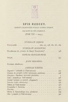 Chimera. T. 8, 1904, spis rzeczy