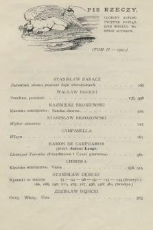 Chimera. T. 2, 1901, spis rzeczy