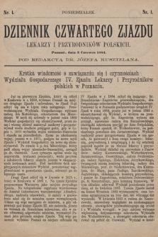 Dziennik Czwartego Zjazdu Lekarzy i Przyrodników Polskich. 1884, nr 1