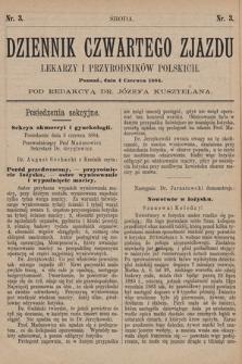 Dziennik Czwartego Zjazdu Lekarzy i Przyrodników Polskich. 1884, nr 3