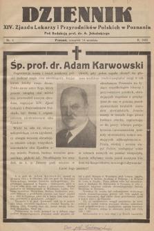 Dziennik XIV. Zjazdu Lekarzy i Przyrodników Polskich. 1933, nr 4
