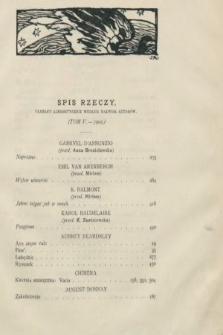 Chimera. T. 5, 1902, spis rzeczy