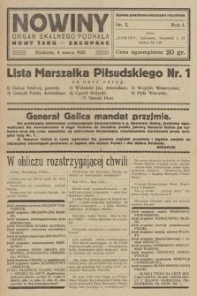 Nowiny : organ skalnego Podhala : Nowy Targ - Zakopane. R. 1, 1928, nr 3