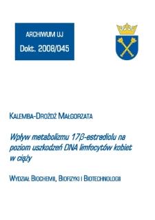Wpływ metabolizmu 17β-estradiolu na poziom uszkodzeń DNA limfocytów kobiet w ciąży