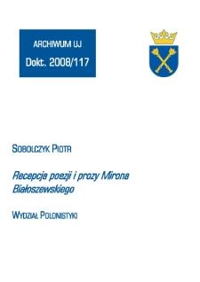 Recepcja poezji i prozy Mirona Białoszewskiego