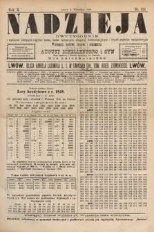 Nadzieja : dwutygodnik zwykazem bieżących ciągnień losów, listów zastawnych, obligacyj indemnizacyjnych innych papierów wartościowych : wiadomości bankowe, kolejowe, ekonomiczne. 1894, nr215