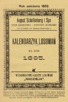 Nadzieja. 1895, kalendarzyk losowań