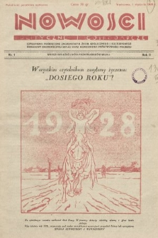 Nowości Polityczne i Gospodarcze : czasopismo poświęcone zagadnieniom życia społecznego i kulturalnego, odbudowy ekonomicznej kraju oraz wzmocnienia państwowości polskiej. 1928, nr1