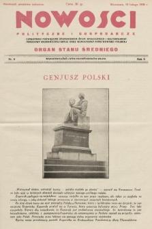 Nowości Polityczne i Gospodarcze : czasopismo poświęcone zagadnieniom życia społecznego i kulturalnego, odbudowy ekonomicznej kraju oraz wzmocnienia państwowości polskiej. 1928, nr8