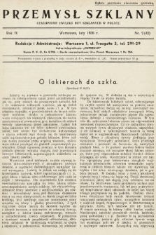 Przemysł Szklany : czasopismo Związku Hut Szklanych w Polsce. 1938, nr2