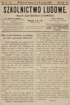Szkolnictwo Ludowe : organ nauczycieli ludowych. 1894, nr4 (skonfiskowany)