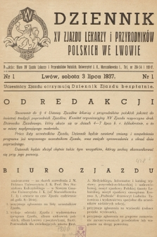 Dziennik XV Zjazdu Lekarzy i Przyrodników Polskich. 1937, nr 1