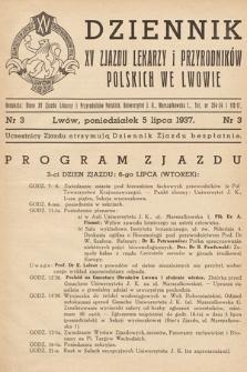 Dziennik XV Zjazdu Lekarzy i Przyrodników Polskich. 1937, nr 3