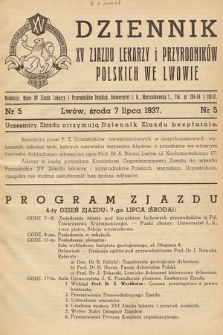 Dziennik XV Zjazdu Lekarzy i Przyrodników Polskich. 1937, nr 5