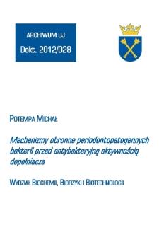 Mechanizmy obronne periodontopatogennych bakterii przed antybakteryjną aktywnością dopełniacza