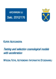 Testing and selection cosmological models with acceleration