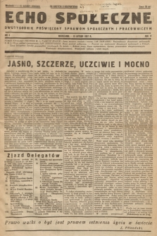 Echo Społeczne : dwutygodnik poświęcony sprawom społecznym i pracowniczym. R. 5. 1937, nr 4