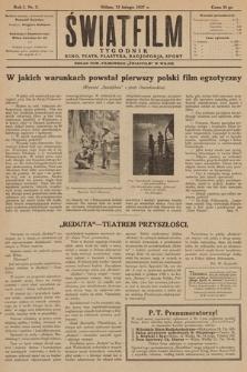 """Światfilm : kino, teatr, plastyka, radjofonja, sport : organ Tow. Filmowego """"Światfilm"""" w Wilnie. R. 1. 1927, nr 2"""