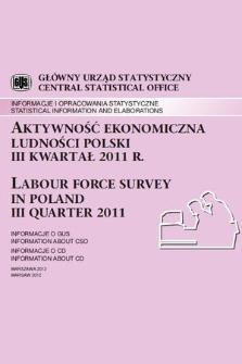 Aktywnosc Ekonomiczna Ludnosci Polski Iii Kwartal 2011