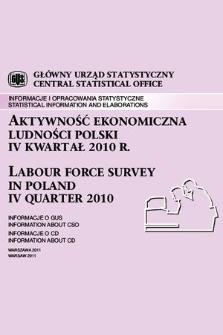 Aktywnosc Ekonomiczna Ludnosci Polski Iv Kwartal 2010