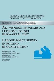 Aktywnosc Ekonomiczna Ludnosci Polski Iii Kwartal 2007