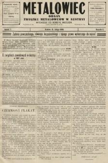 Metalowiec : organ Związku Metalowców w Austryi. R. 2. 1908, nr7