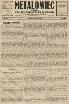 Metalowiec : organ Związku Metalowców w Austryi. R. 2. 1908, nr48