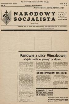 Narodowy Socjalista : miesięcznik Centralny organ Partii Narodowych Socjalistów. 1935, nr10 (po konfiskacie nakład drugi)