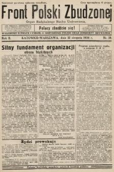 Front Polski Zbudzonej : organ Radykalnego Ruchu Uzdrowienia. 1934, nr19
