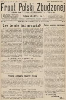 Front Polski Zbudzonej : tygodnik polityczny, gospodarczy i literacki. 1935, nr4