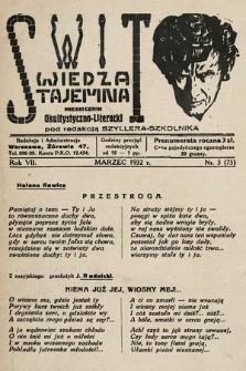 Świt : wiedza tajemna : miesięcznik okultystyczno-literacki. 1932, nr3