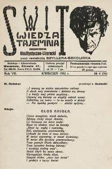Świt : wiedza tajemna : miesięcznik okultystyczno-literacki. 1932, nr4