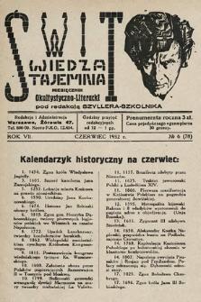 Świt : wiedza tajemna : miesięcznik okultystyczno-literacki. 1932, nr6