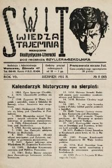 Świt : wiedza tajemna : miesięcznik okultystyczno-literacki. 1932, nr8